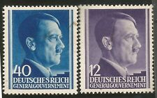 1942 Nazi Germany Post in Occupied Poland Hitler Head Two Mint Stamps