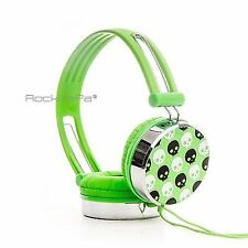 Kids Boys Girls Childrens Teens Adults Rockpapa Skull Over Ear Headphones Green