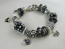 "925 SILVER STAMPED 21cm EUROPEAN STYLE GOTHIC CHARM BRACELET  "" BLACK MAGIC """