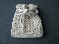 Vintage crocheted drawstring miniature purse bag great for dolls jewelry case #5