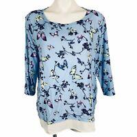 TALBOTS Light Blue Multi Butterflies Sleeves 3/4 Women Blouse. Size PXL. NWT