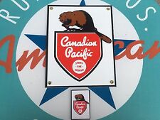 CANADIAN PACIFIC RAILWAYS PORCELAIN coated 18 GAUGE STEEL sign INCLUDES magnet