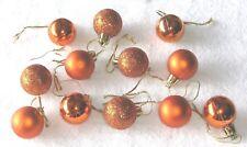 Orange Combo Mini Ornaments Christmas Shatterproof Balls Shiny Glitter Satin