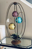 VTG MCM Birdcage Lamp w/Planter & Tricolored Domed Globes. Statement Piece!