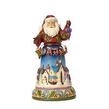 Enesco Jim Shore Heartwood Creek Santa with Rotating/Santa/Reindeer Nib 4056590