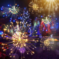 Solar Powered Firework Light Fairy LED String Light Xmas Wedding Decor Lamp y