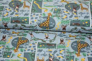 Stoff Baumwoll-Jersey grau gelb grün Giraffe Schlange Affe Krokodil Wildnis Tier