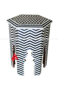 Indian Luxury Bone Inlay Eight Angle Stool Black And White Color