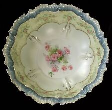 "RS Prussia Satin Glaze 10 1/2"" Bowl Pink Roses Gold Beading Blue Trim"
