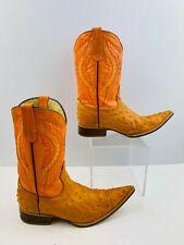 Men's Orange Ostrich Print  Pointed Toe Western Cowboy Boots Size: 7
