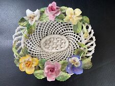 More details for crown staffordshire porcelain china woven basket with flowers. vintage, rare.