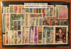 LOTE DE 50 SELLOS DIFERENTES USADOS DE CHILE