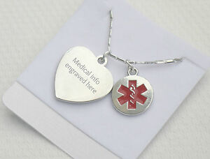 ENGRAVED LADIES MEDICAL ALERT ID NECKLACE PENDANT ALLERGY DIABETES CONTACT INFO