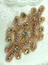 """Rose Gold Applique Beaded Crystal Rhinestone Iron On Patch  4"""" (XR15-rsglcr)"""
