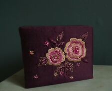 MONSOON Fabric Trinket Box Gift Box Damson Purple Floral Embroidery ACCESSORIZE
