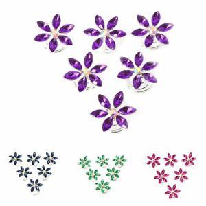6 Strass Curlies Braut Kommunion Hochzeit Haarschmuck Blüten Blume 4 Farben