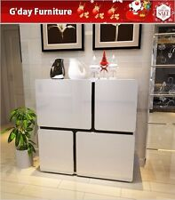 High Gloss Shoe Cabinet Rack Storage Organiser Shelf Cupboard White 4 Doors
