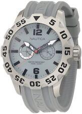 Nautica BFD Gray Dial Rotating Bezel Grey Resin Strap Men's Watch N16615G New