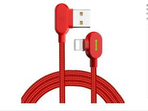 MCDODO 90 Degree Elbow Fast Charger Smart USB Cable iPhone11 X 8 7 6s Red 0.5m