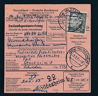 89892) Auslands - Postanweisung Heuss, EF 50PF Hildesheim - Schweden