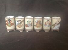VINTAGE CHINESE CERAMIC 5cm WINE CUPS DEPICTING 6 IMMORTALS SIGNED BASES