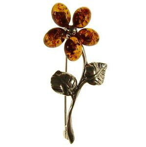 BALTIC AMBER STERLING SILVER 925 LADIES FLOWER BROOCH PIN JEWELLERY JEWELRY GIFT