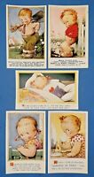 Collection of 5 Vintage Bamforth Comic Tempest Kiddy Series Postcards AN1
