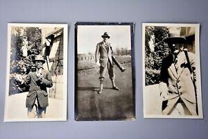Vintage Photograph: Maidstone/Kent Pipe Smoking Man, Golf Bag, 1920's Fashion