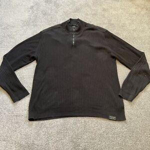 Mens Calvin Klein Jeans 1/4 Zip Jumper Pullover VGC Black Size XXL