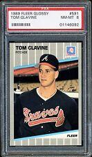 RARE  Tom Glavine1989 Fleer Glossy (TIFFANY) #591 PSA 8 HOF