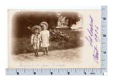 Real Photo Postcard | Brother and Sister in Straw Hats | RPPC 1906