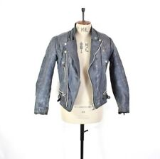 Men's VINTAGE 70s Navy REAL LEATHER Biker Motorcycle Punk Distressed Jacket S