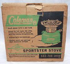 Vintage 1966 Coleman 1 Burner Sportster Camp Stove 502-700 Green w/Box