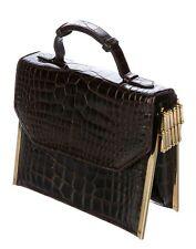 Judith Leiber Alligator Skin Brown Gold Day Evening Handbag Crossbody Tassel
