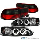For 92-95 Civic 24dr Black Halo Led Projector Headlightsred Smoke Tail Lamp