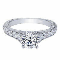 White Gold Finish Ring Solitaire 1.50 Ct Diamond Engagement Ring Size P N T H J