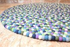 Blue Berry Felt Ball 120 cm round Area Rug