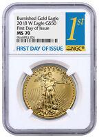 2018-W 1 oz Burnished Gold American Eagle $50 NGC MS70 FDI SKU54432