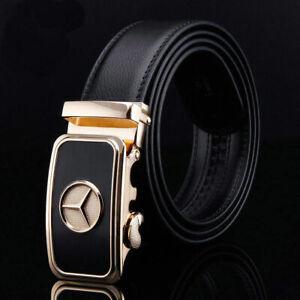 Mens Genuine Leather Black Fashion Belt Benz Logo Automatic Buckle Waist Strap