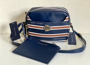 TOMMY HILFIGER NAVY BLUE BROWN LEATHER CROSSBODY SLING BAG W/ WALLET POUCH $88