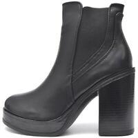Damen Stiefeletten Chelsea Plateau Boots High Heels Block Absatz Schwarz