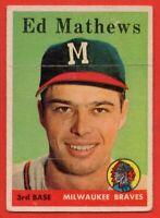 1958 Topps #440 Ed Mathews VG-VGEX+ MARKED Milwaukee Braves HOF FREE SHIPPING