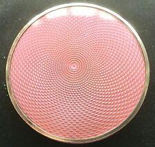 1927 Art Deco pink guilloche enamel silver powder compact box with mirror