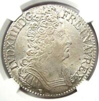 1709-D France Louis XIV Ecu Coin - Certified NGC Uncirculated Details (UNC MS)