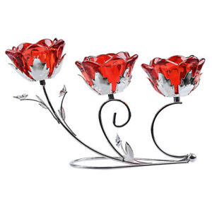 LONGWIN Red Crystal Flower 3 Arm Candle Holder Glass Candlestick Home Xmas Decor