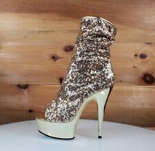 "Delight 1008 SQ Gold Sequin Ankle Boot 6"" Chrome Platform Stiletto Heel Shoe"