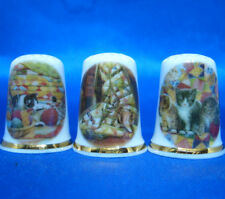 Birchcroft Thimbles -- Set of Three -- Kittens and Quilts