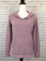 Eddie Bauer Womens Sweater Size Med Purple Long Sleeve Stretch Chenille Hoodie