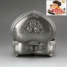 Tin Alloy Heart Shape With Flowers Music Box ♫ Can'T Help Falling In Love ♫