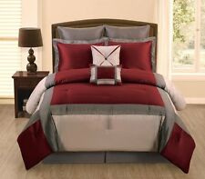 7 PC Burgundy, Grey and Silver  Silk King Size Comforter Bedding Set